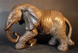 Chinese terracotta figure of an elephant ready to