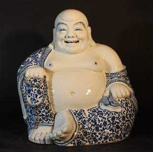 Chinese porcelain Milofo in sitting position with chain