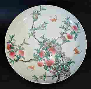 Chinese porcelain peach salver with painted