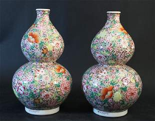 Pair of Chinese large pumpkin porcelain vases with thin