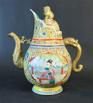 Chinese porcelain ceremonial water pot multicoloured