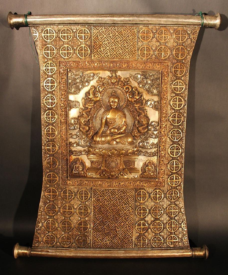 Tibetian altar panel showing Shakyamuni with two