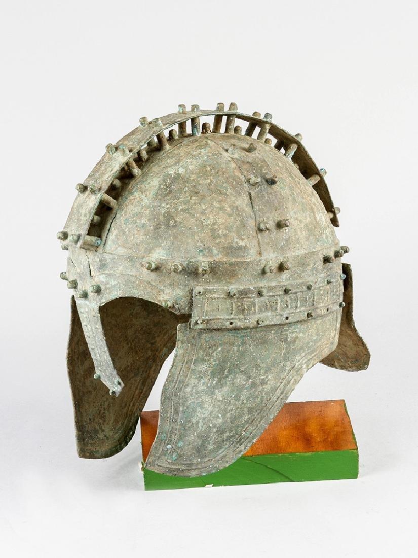 A bronze warrior helmet