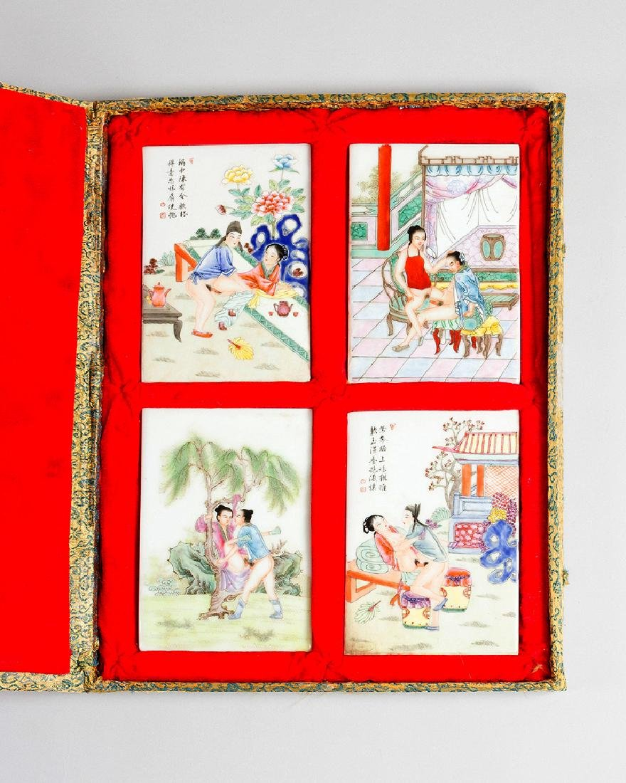 Four erortic Chinese porcelain plaques