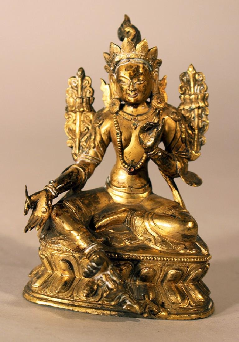 Bronze sculpture of Green Tara