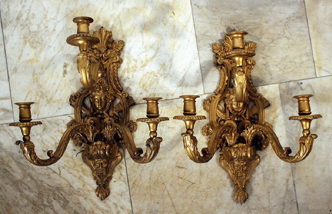 Pair of French wall appliques