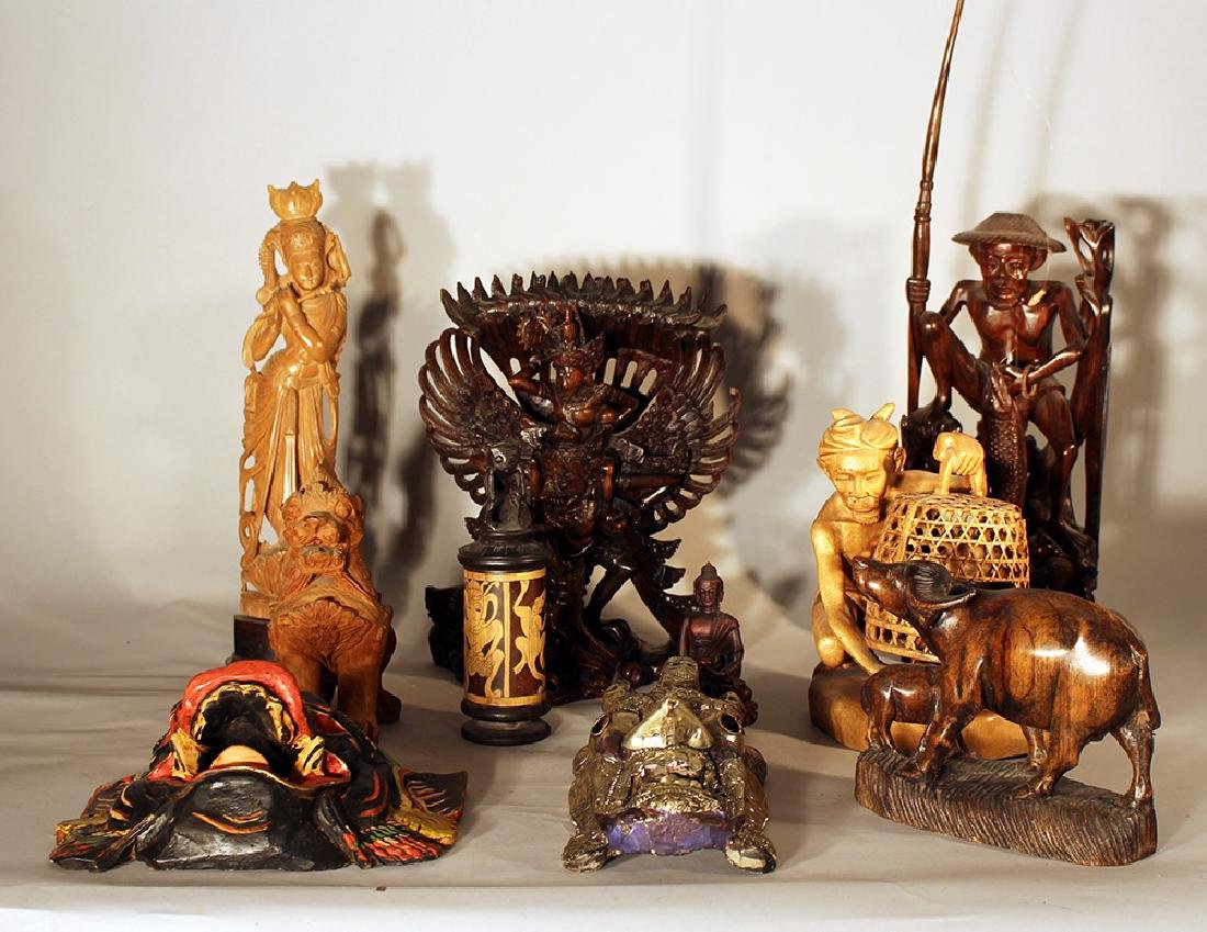 Lot of 10 Asian sculptures