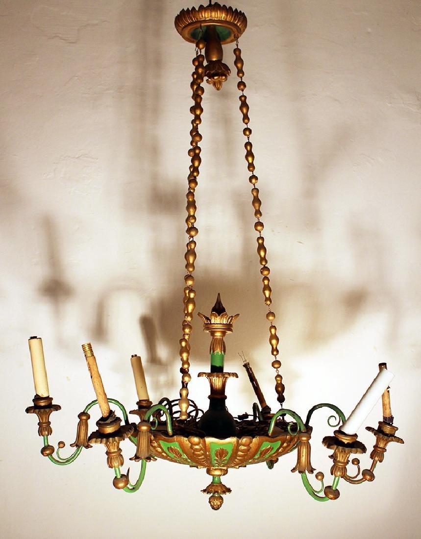 Biedermeier style wooden chandelier