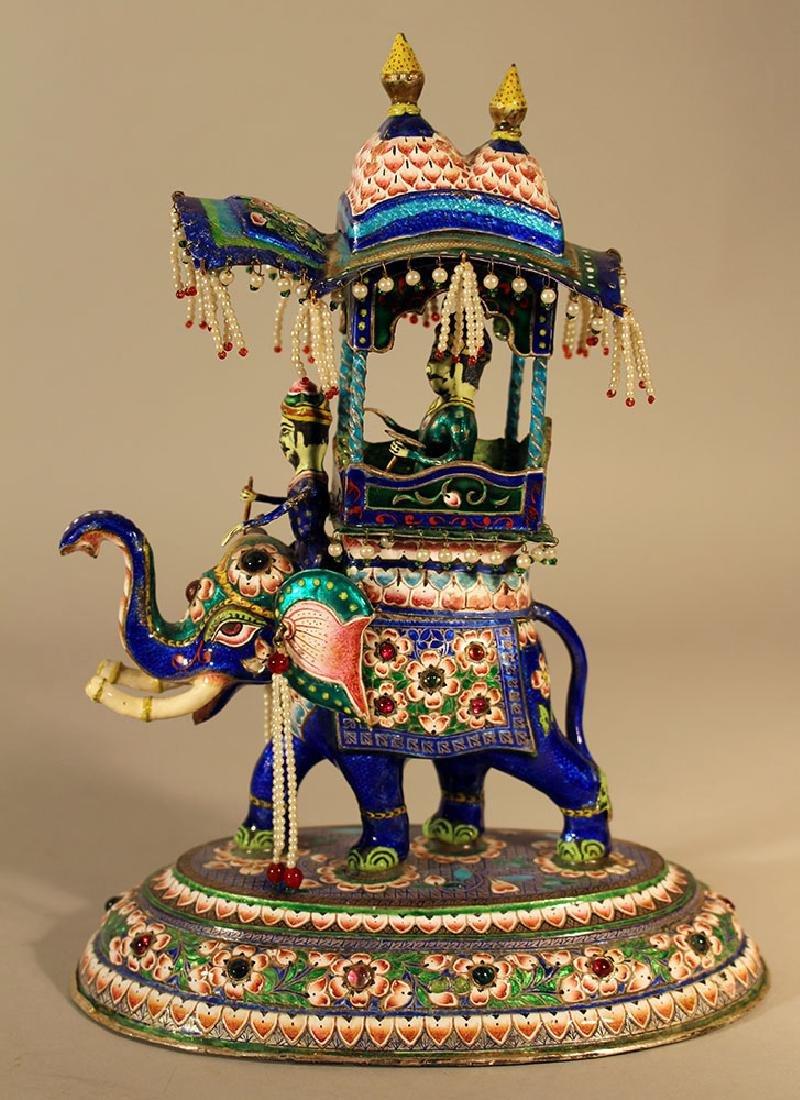 Indian silver enamel elephant