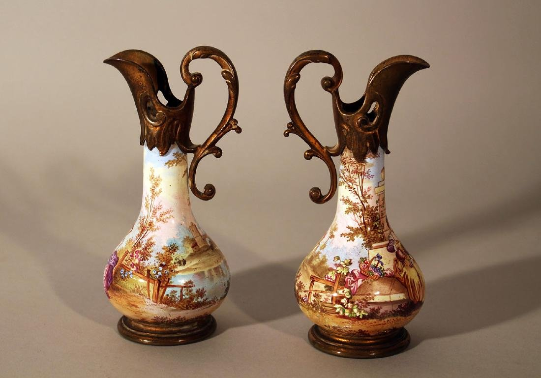 Pair of Vienna enamel jugs