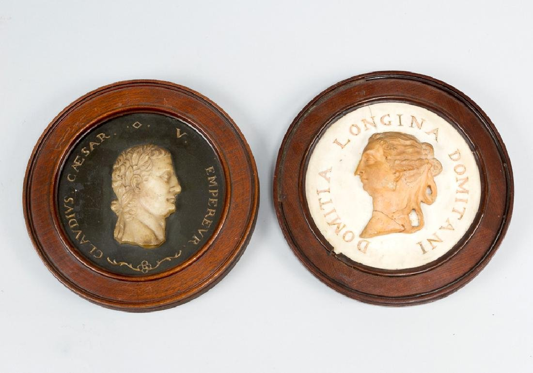 Pair of marble relieffs