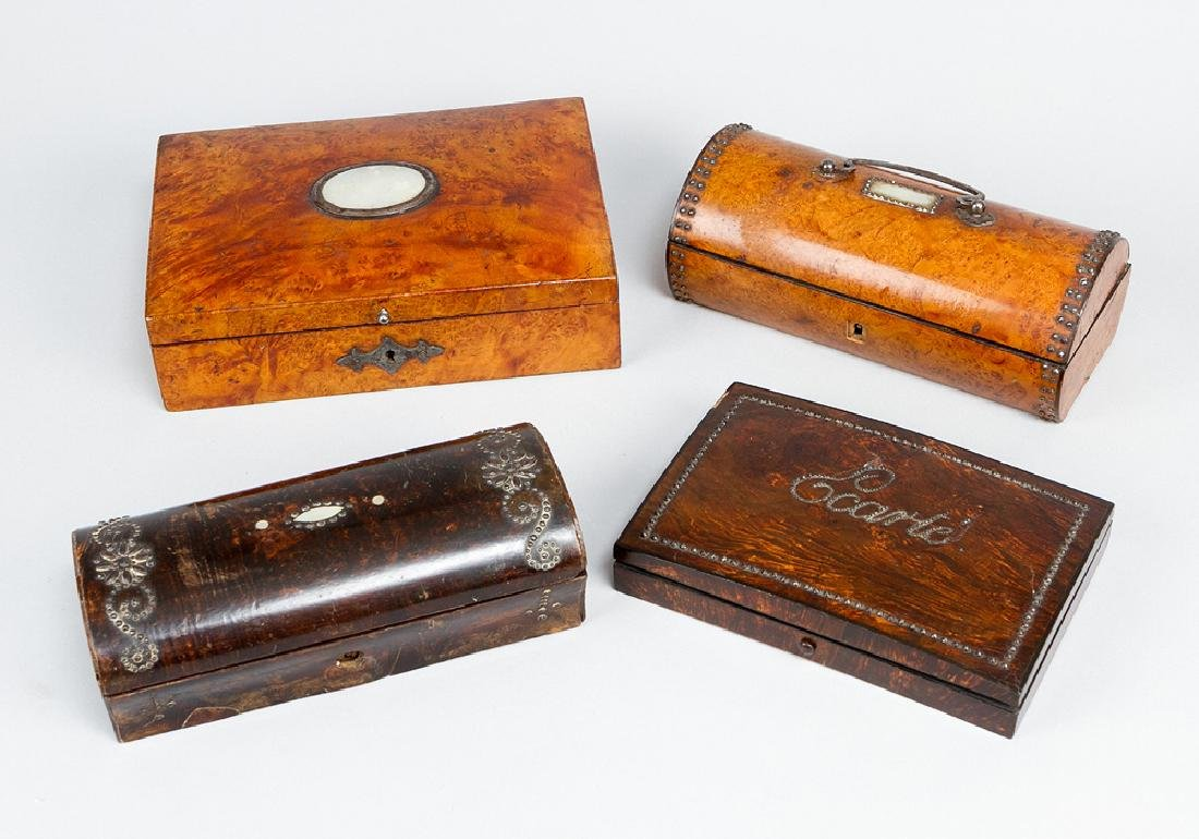 Lot of four early 19.th century boxes