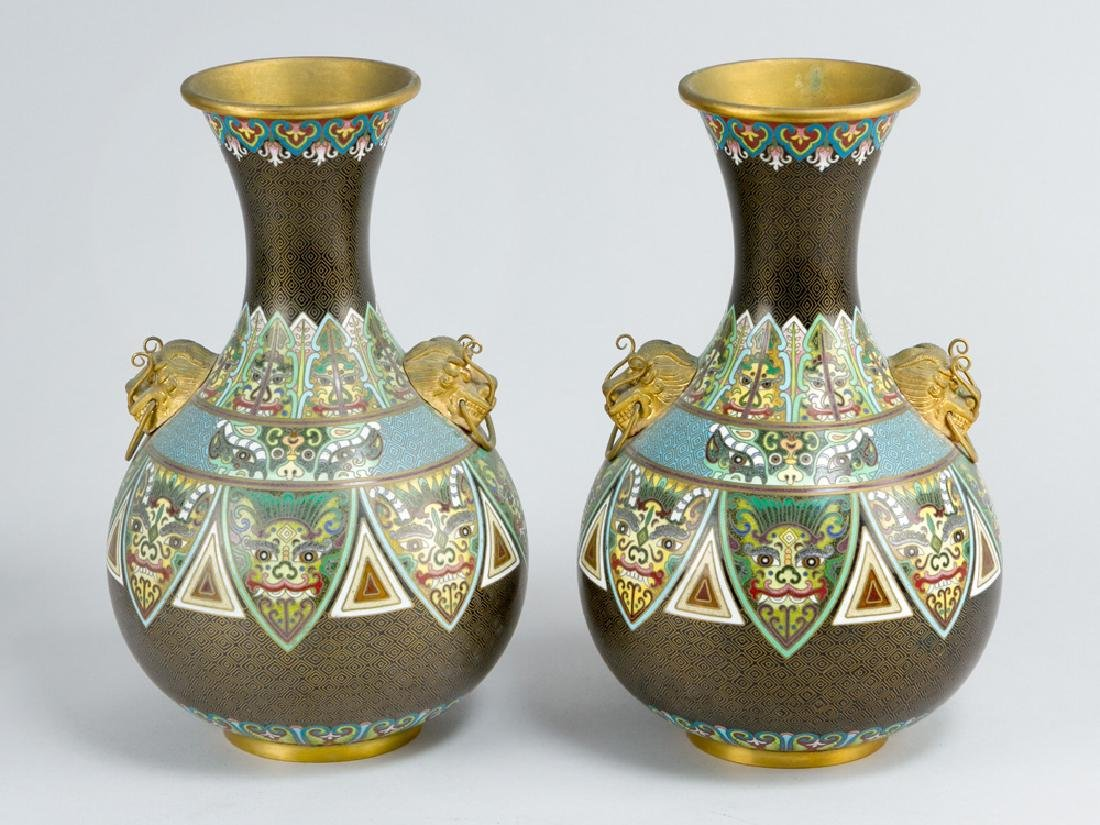 Pair of Chinese Cloisone Vases