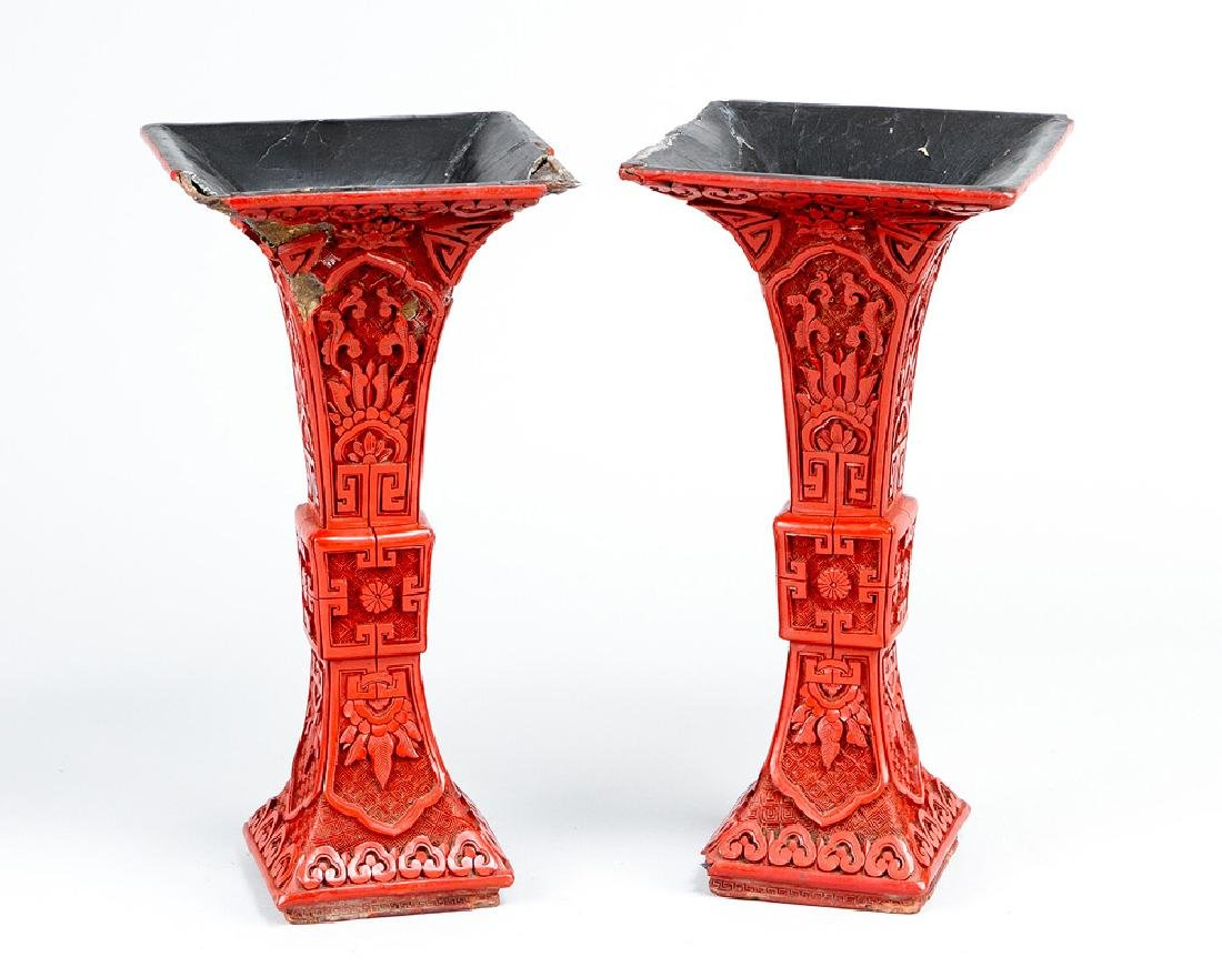 Pair of Kang Xi Lacquer Vases