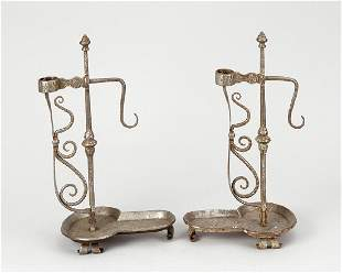 Pair of German iron candle sticks