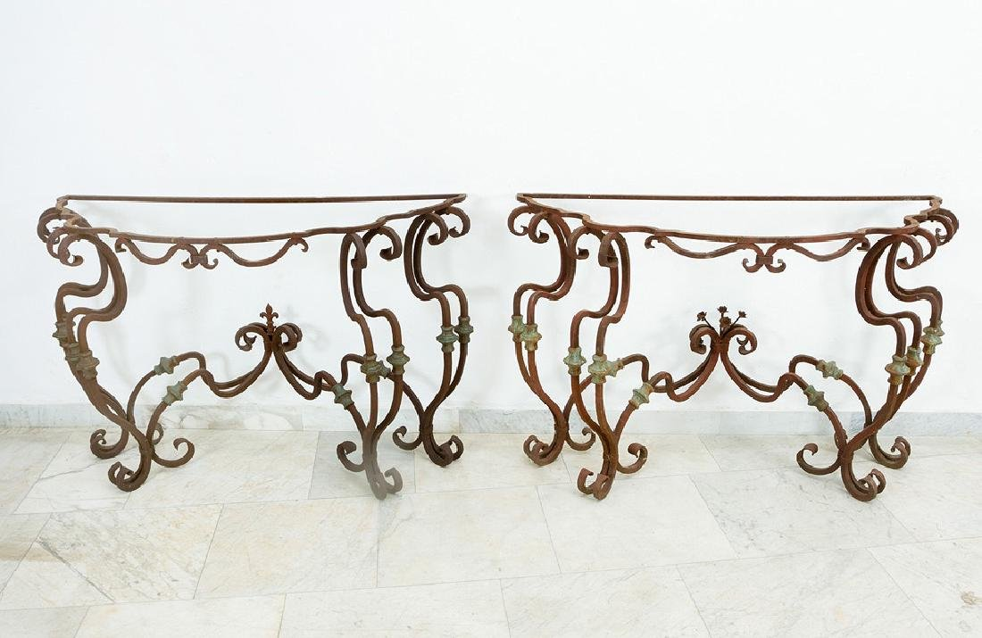 Pair of Lombard Iron Consoles