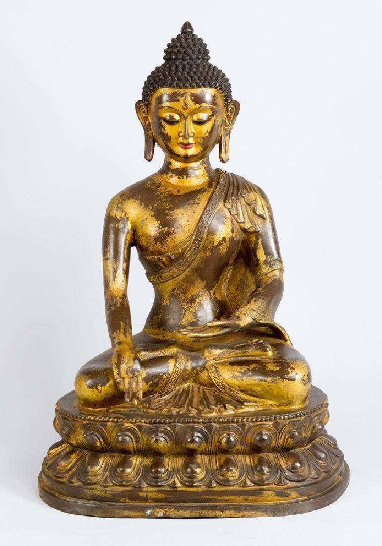 Large Indochinese Bronze Buddha