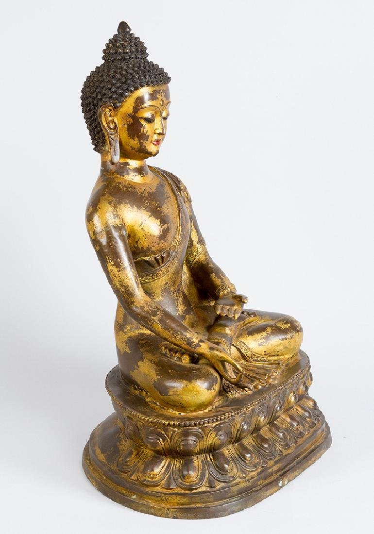 Large Indochinese Bronze Buddha - 2