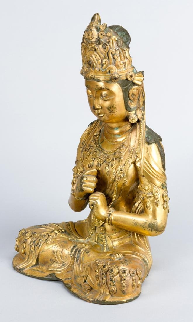 Late Ming bronze sculpture of Guanyin