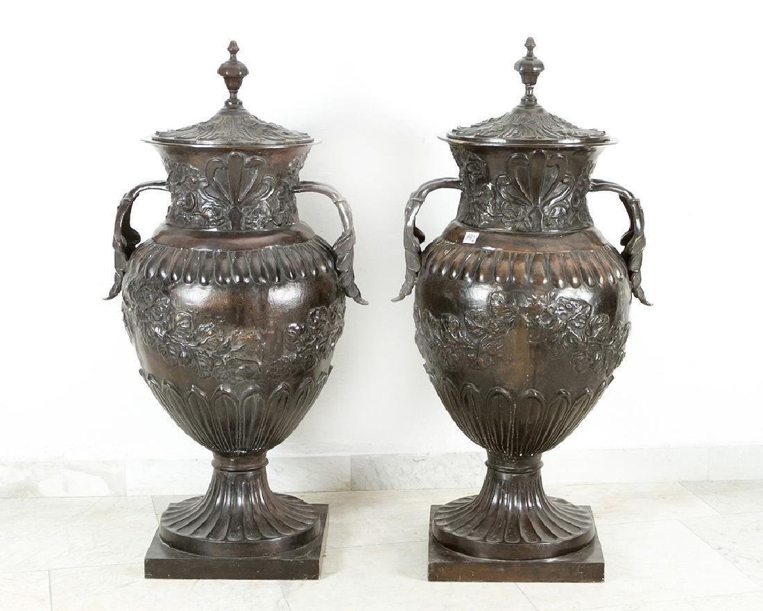 Pair of Monumental bronze Vases