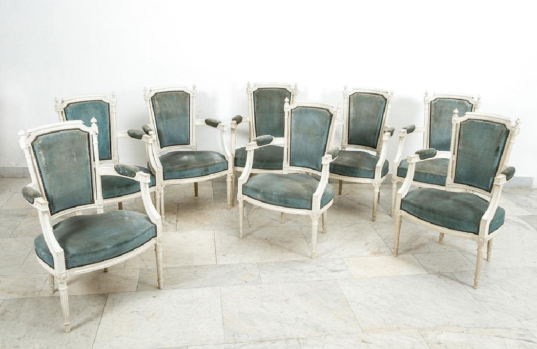 Eight French Arm Chairs