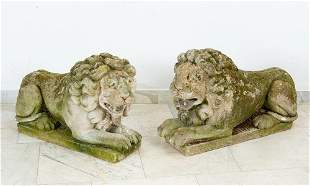 Pair of sandstone lions