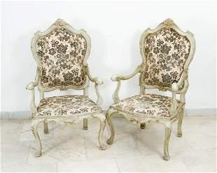 Pair of Venetian arm chairs