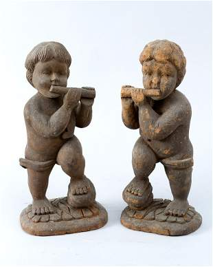 Pair of flute playing angels