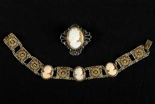Set of bracelet and brooch.