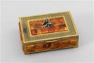 Amber Art Deco box