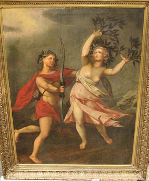 9: French Artist around 1700 . Daphne and Apoll oil on