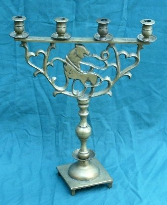 5: Jewish Menorah, Brass , former 7 candle holders ( 3