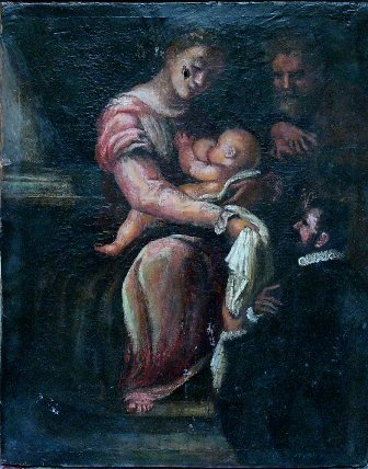 7: Umbrian School around 1600,  Holy Family with an kne
