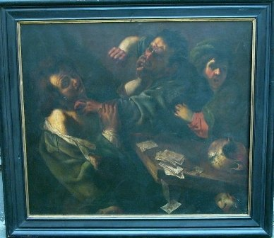 10: Carravagio 1571-1610-follower,  Card Players  fight