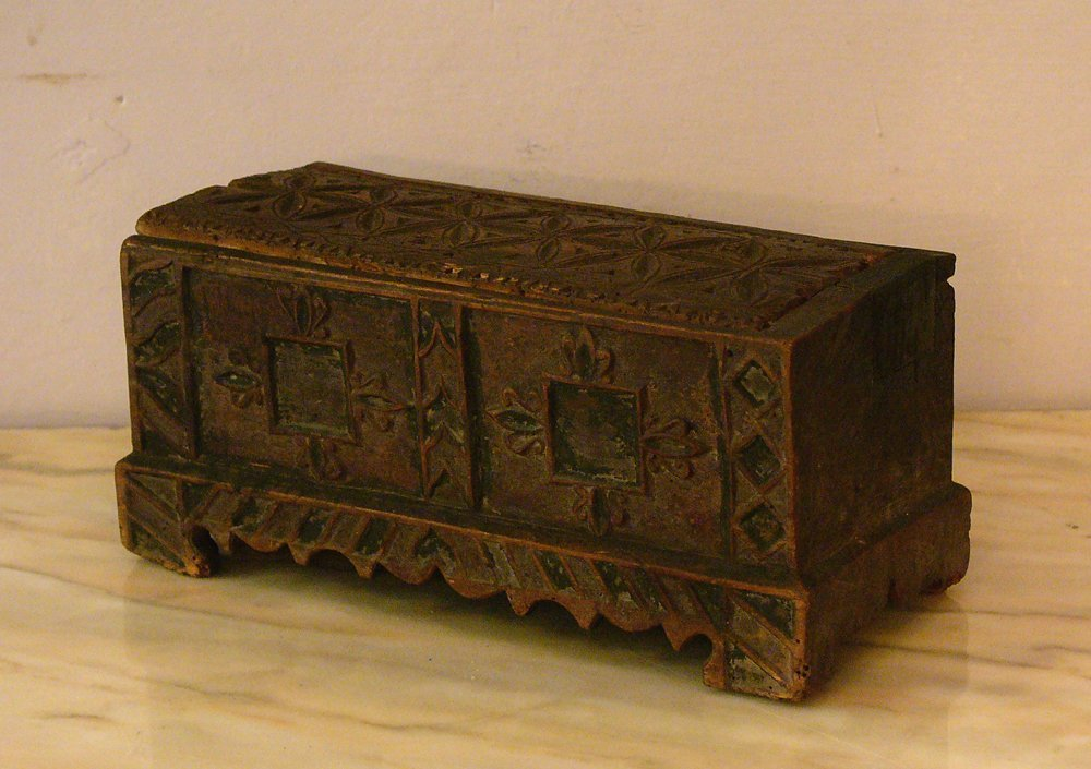An early central European coffer with carved ornaments