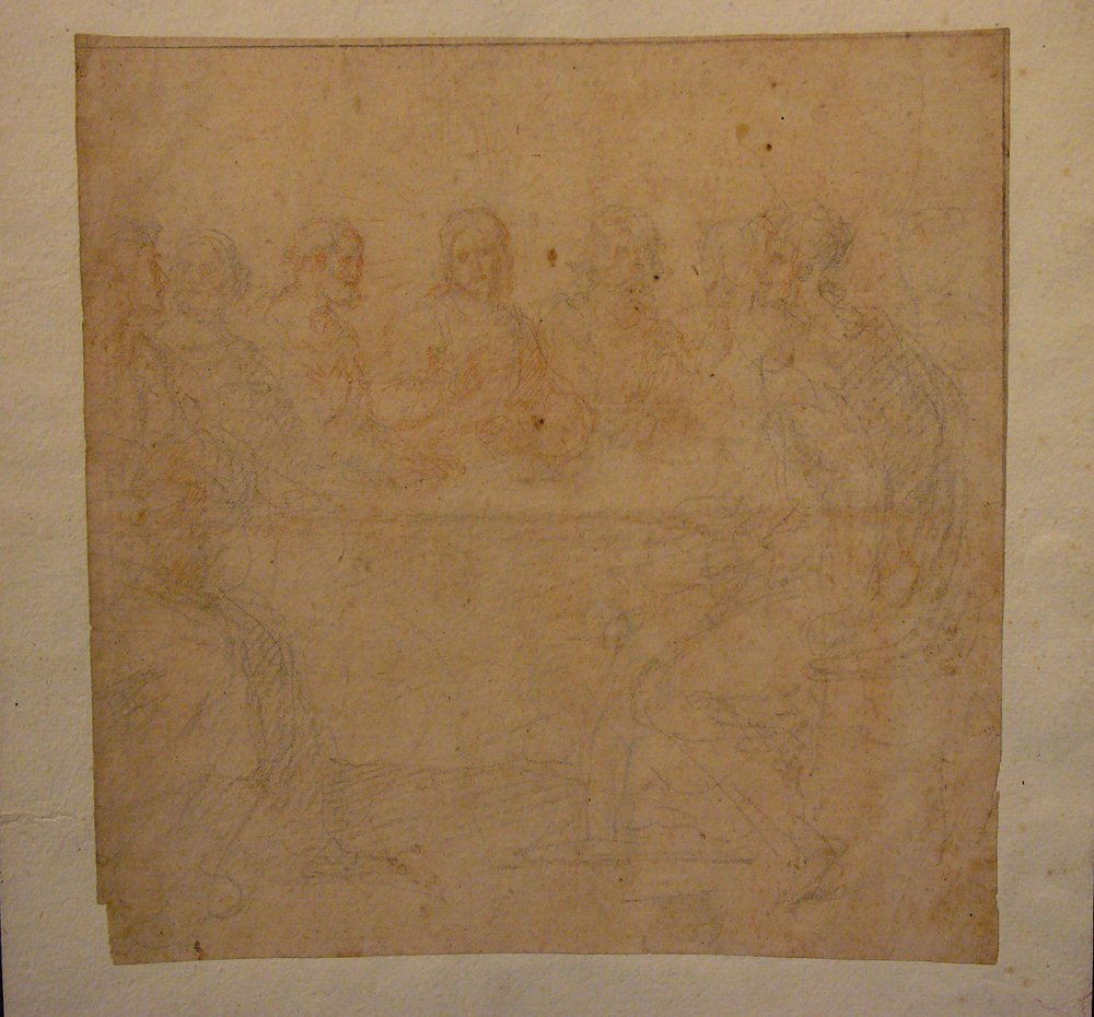 Milanese School around 1600, study for a Last Supper, b