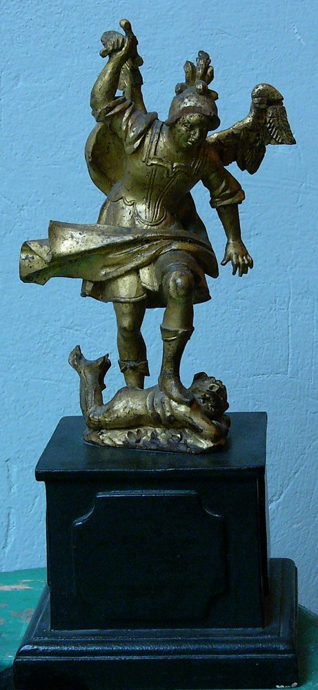 Saint Michael. wood carved sculpture, gilted on ebonise