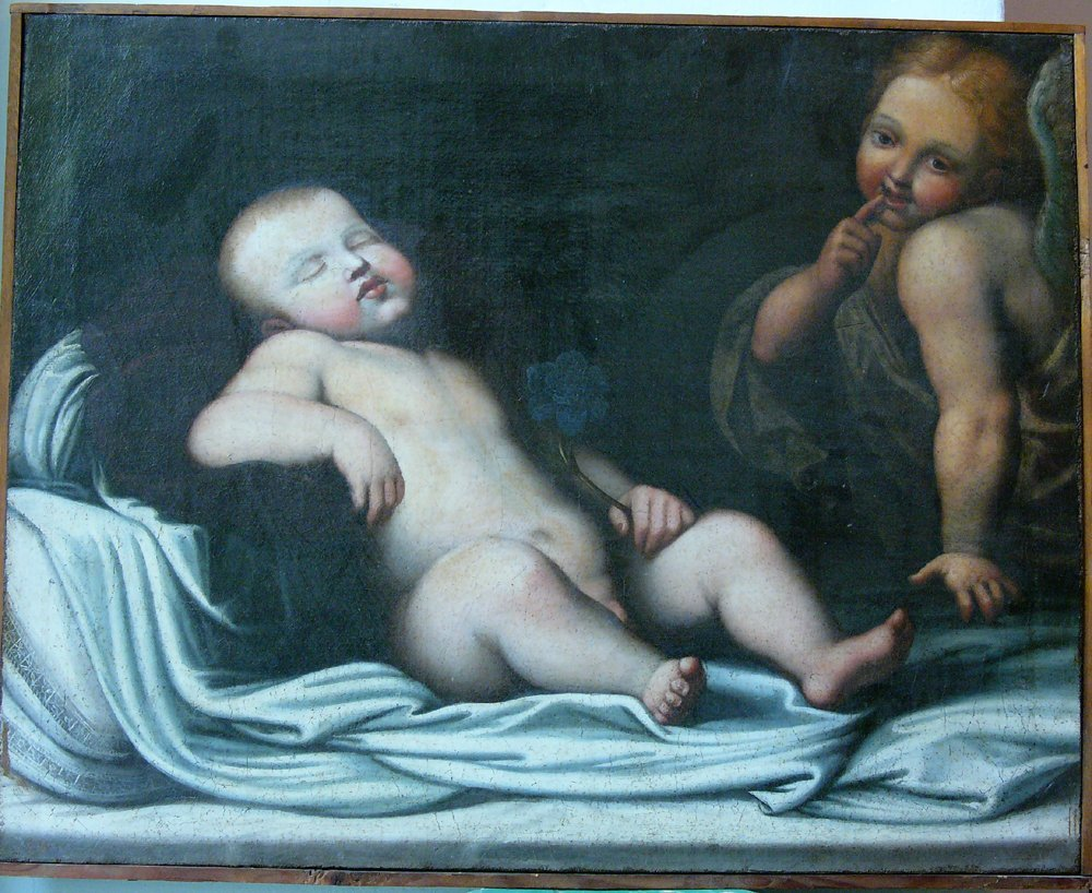 Bolognese School, The sleeping Infant with an angel, oi