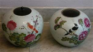 Pair of Chinese porcelain vases with bird and flower de