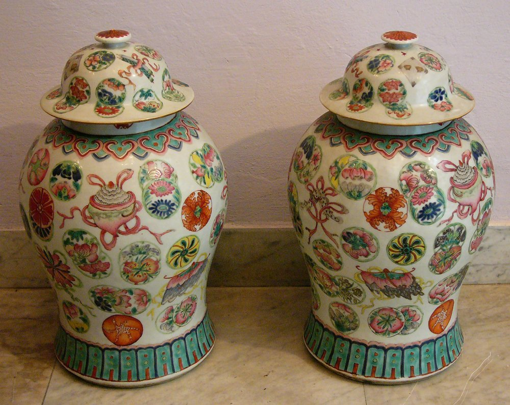 Pair of Chinese Vases round circular form with two lids