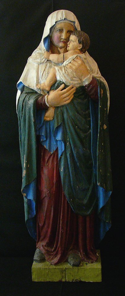 Madonna with child in weaken late Gothic manner, in