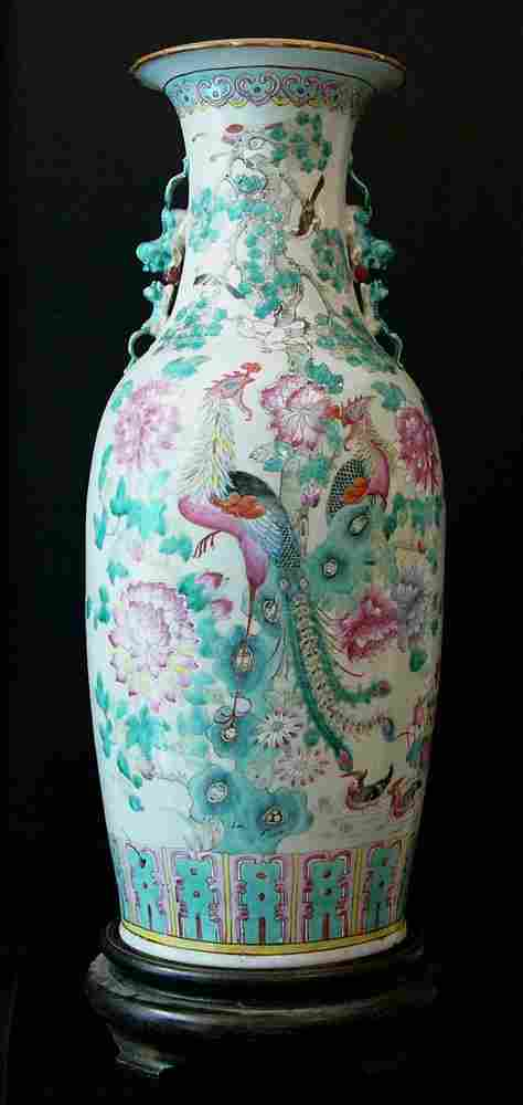 Chinese Porcelain Vase, with multicoloured bird and