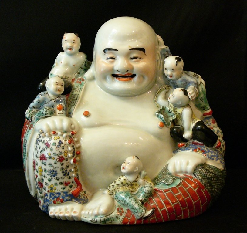 Smiling porcelain Buddha with five children,