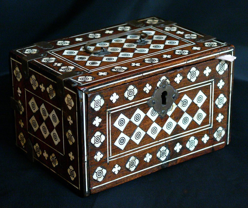 Portuguese Colonial casket, with falling front and