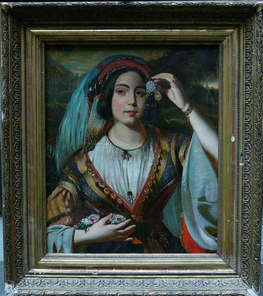 Orientalist around 1850, Turkish beauty, oil on canvas.