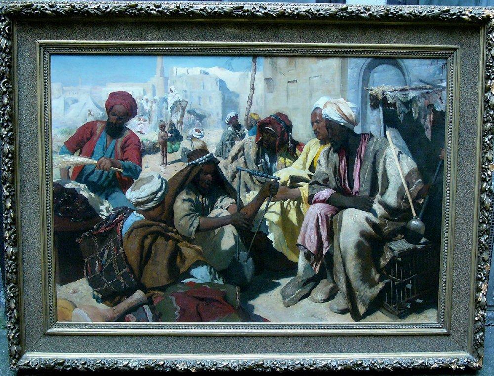 Orientalist around 1900, Market scene in Cairo? with