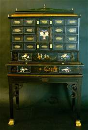 Pietra dura cabinet, with 12 drawers and 19 pietra dura