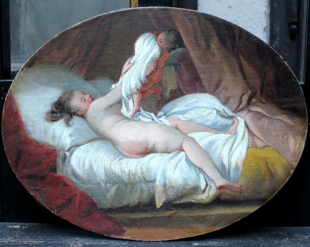 French School late 18th Century,  Naked lady on her