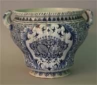 Large French or Italian majolica bowl, round shape body
