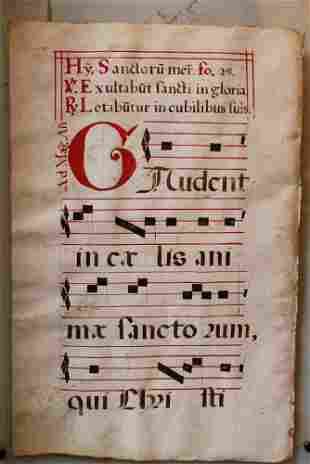 Antiphonary page in red and black colours on parchment,